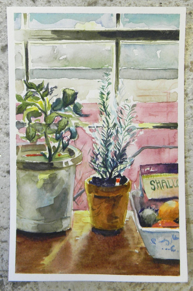 Rosemary, Tomato, and Fruit: watercolor on paper